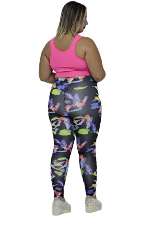 Truva XXL Büyük Beden Kadın Giyim Baskı Detaylı Micro Kumaş Yüksek Bel Dar Paça Tayt Desenli 2
