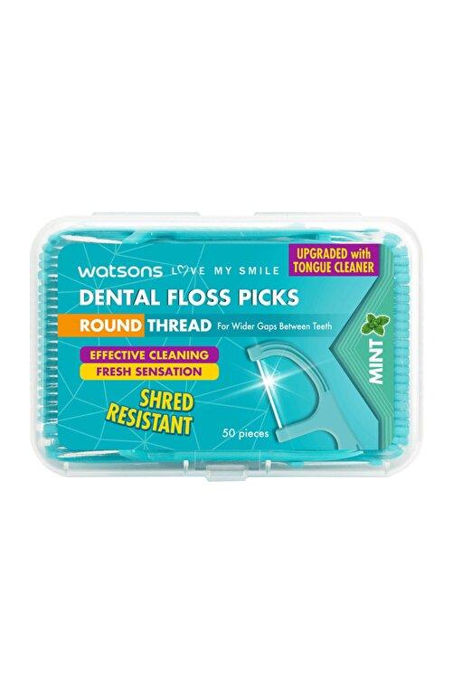 Watsons Round Thread Dental Floss Picks Mint 50 Adet 1