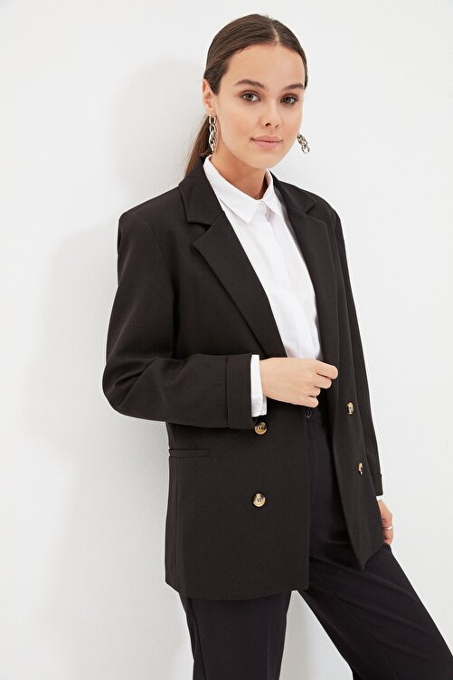 Trendyol Modest Siyah Astarlı Çift Düğmeli Ceket TCTAW22CK0013 2