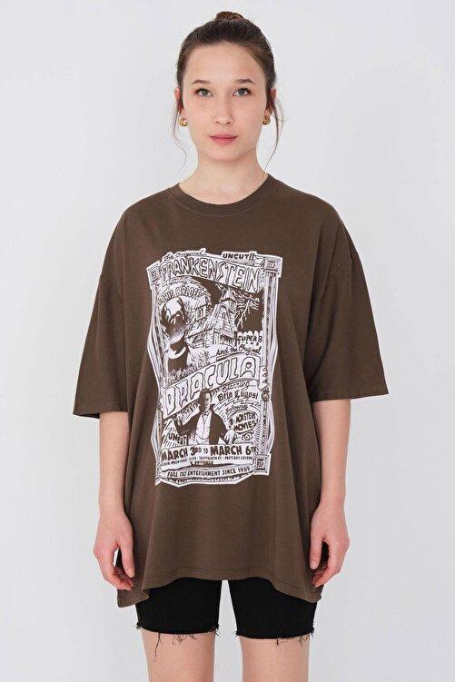 Addax Baskılı Oversize T-shirt P9577 - B12 2