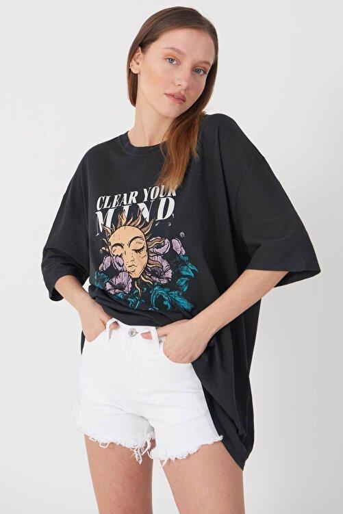 Addax Baskılı Oversize T-shirt P9372 - D8 1