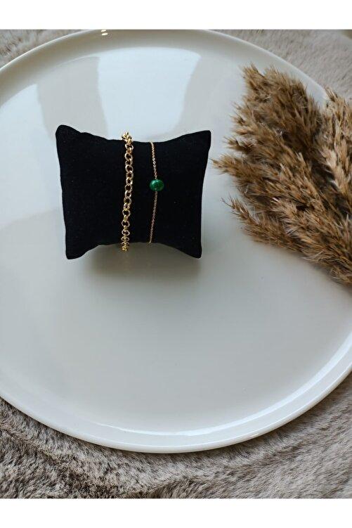 The Allis Ikili Kadın Gold Zincir Bileklik Yeşil Boncuk Detaylı 1