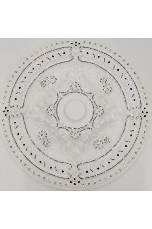 yeditepe osmanlı Siyah Taşlı Güneş Desenli Stropiyer Tavan Göbeği - 68 Cm 1