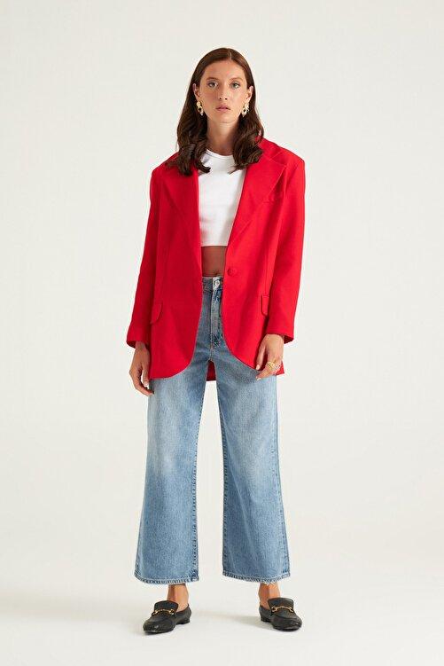 Mathilda By Çiğdem Bilici Kırmızı Tek Düğme Oversize Blazer Ceket 1