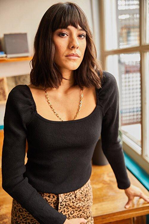 Olalook Kadın Siyah Kare Yaka Likralı Bluz BLZ-19001617 2