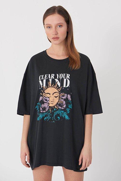 Addax Baskılı Oversize T-shirt P9372 - D8 2