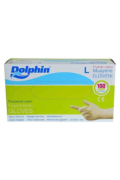 Dolphin Pudralı Beyaz Latex Eldiven Büyük Boy (L) 100 Lü Paket 1
