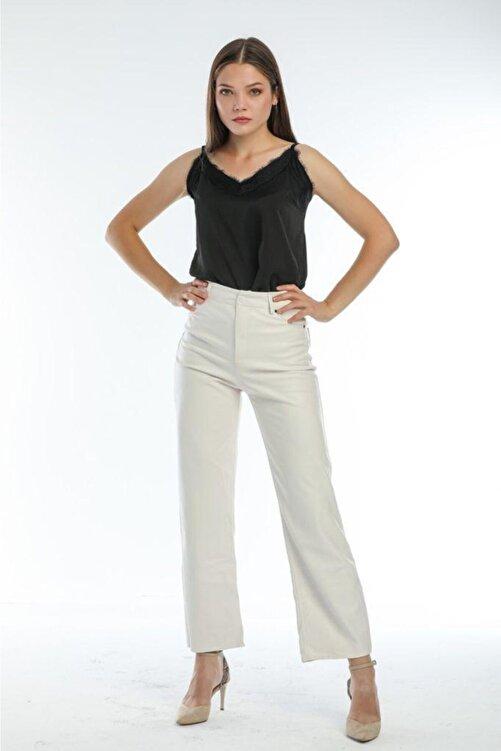 EZFER Kadın Beyaz Deri Pantolon 1