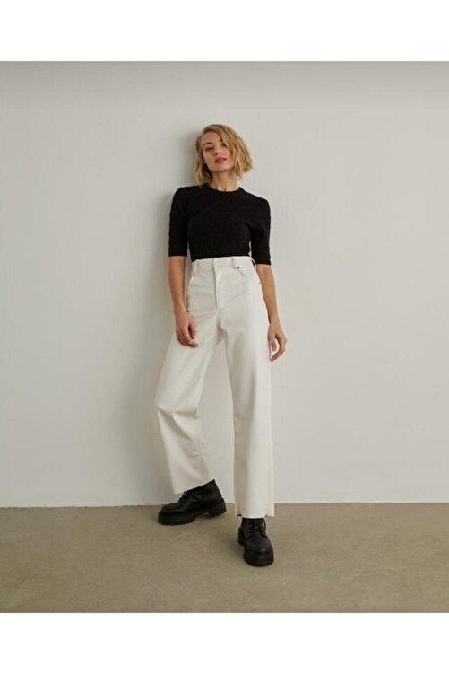 EZFER Kadın Beyaz Deri Pantolon 2
