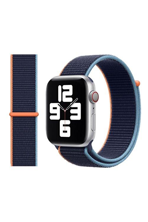 Robotekno Apple Watch 2 3 4 5 6 Se Uyumlu 38 Mm Ve 40 Mm Için Dokuma Kordon Kayış - Deep Navy 1