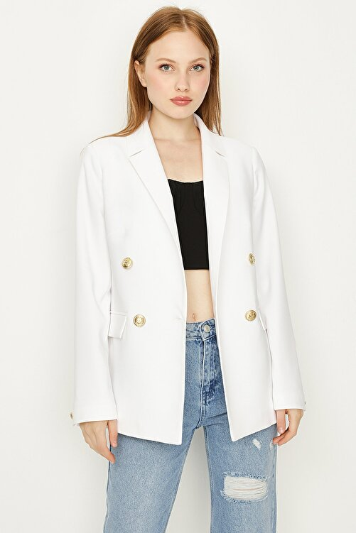 Select Moda Kadın Beyaz Düğmeli Blazer Ceket 1