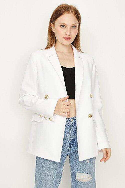 Select Moda Kadın Beyaz Düğmeli Blazer Ceket 2