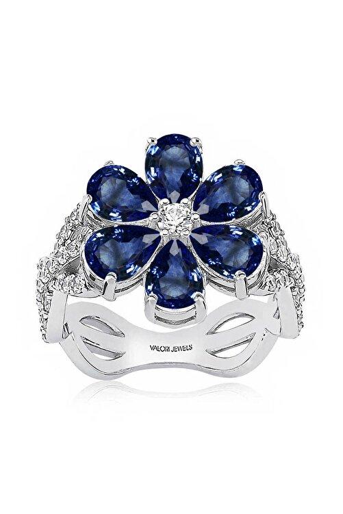 Valori Jewels 2 Karat Zirkon Mavi Damla Taşlı, Manolya Çiçek Gümüş Yüzük 1