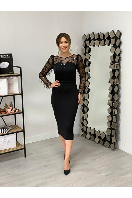 giyimmasalı Scuba Kumaş Pul Saçaklı Elbise - Siyah 1