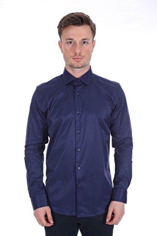 Diandor Uzun Kollu Klasik Erkek Gömlek Lacivert/navy 2012017 1