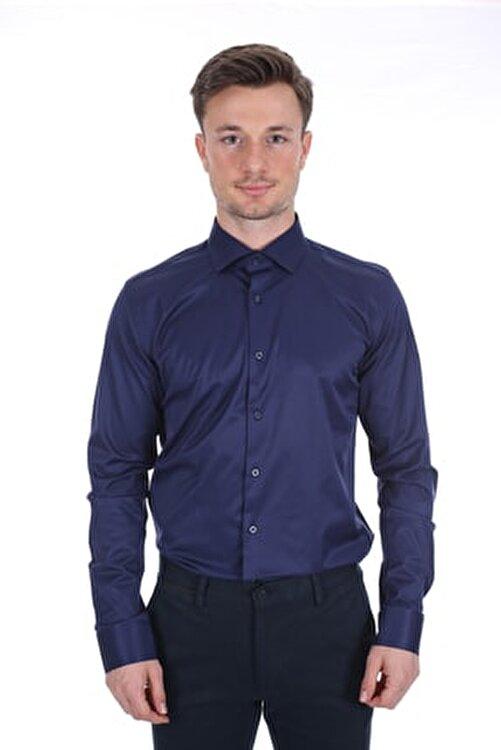 Diandor Uzun Kollu Klasik Erkek Gömlek Lacivert/navy 2012017 2