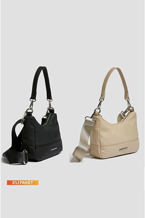 Ludo Vico Kadın Siyah-bej Çok Yönlü Kol Çantası 2'li Paket Avantajlı Fiyat 1