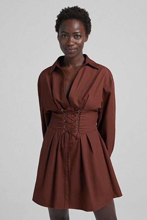 Bershka Bağcık Detaylı Poplin Gömlek Elbise 1