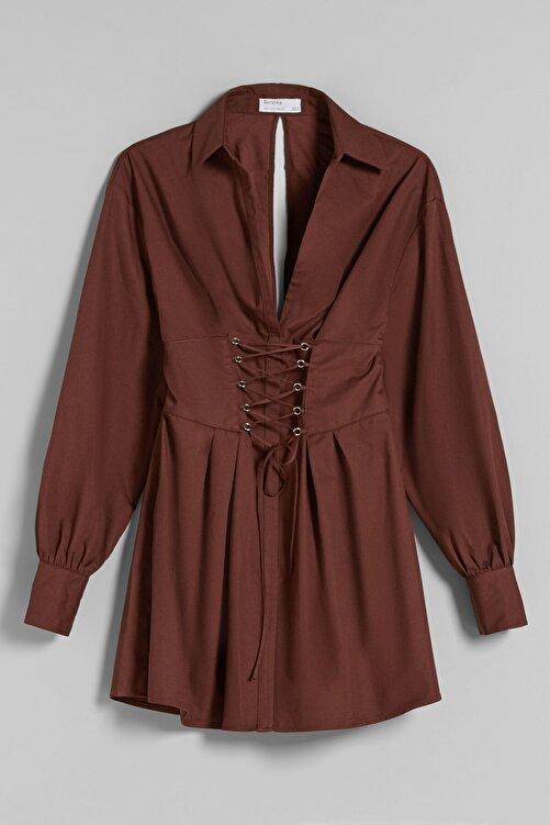 Bershka Bağcık Detaylı Poplin Gömlek Elbise 2