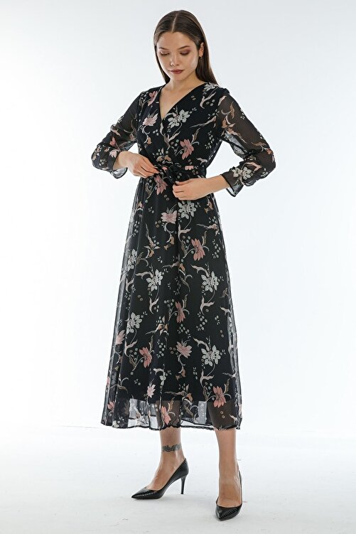 Elbise Delisi Çiçekli Yeni Sezon Kruvaze Yaka Büyük Beden Şifon Elbise 1