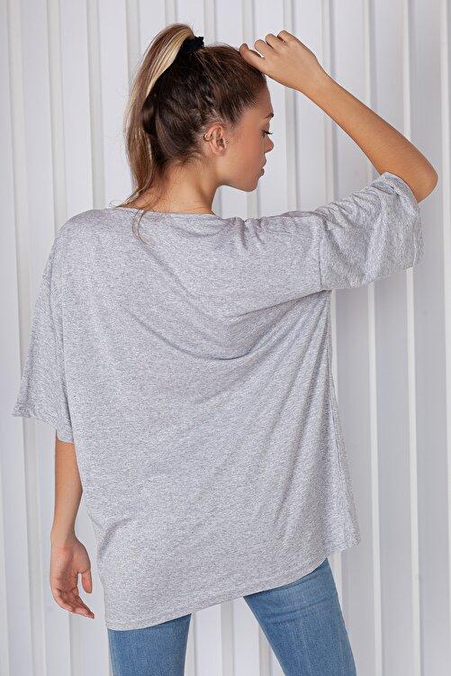 blackbonds Kadın Gri Montana Baskılı Oversize T-shirt 2