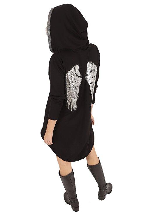 BUKETLİ Kadın Siyah Sırtı Payetli Kapüşonlu Mini Sweat Elbise 2
