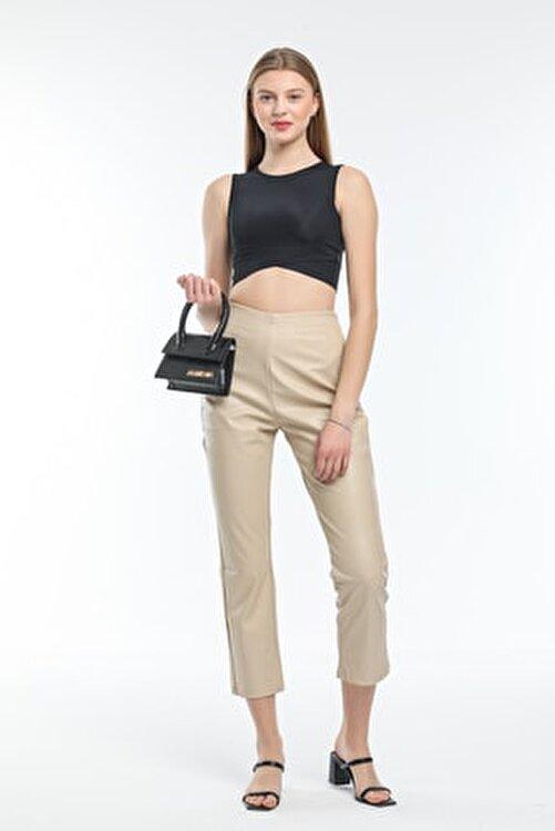 Modarengi Kadın Bej Yüksek Bel Yandan Fermuarlı Deri Pantolon 2