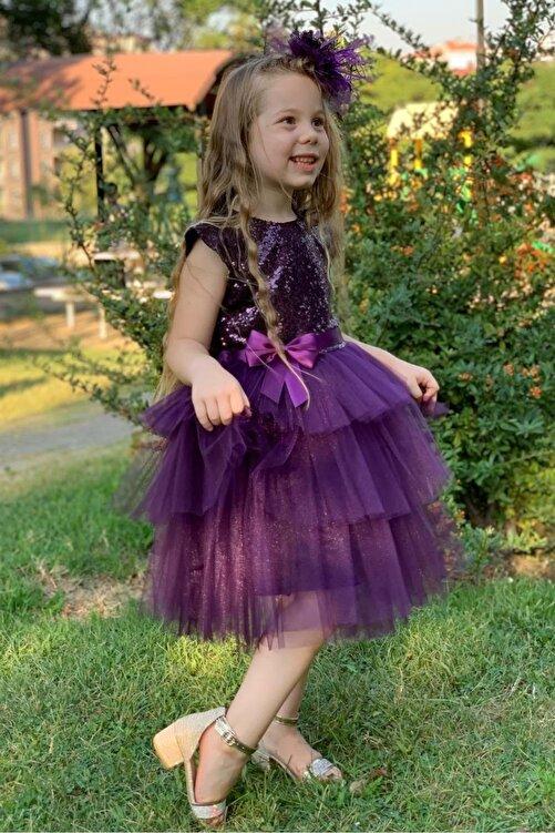 Pumpido Mürdüm Renk Pul Payetli Kız Çocuk Elbisesi 2