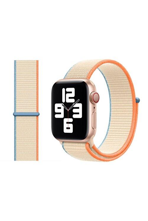 Robotekno Apple Watch 2 3 4 5 6 Se Uyumlu 38 Mm Ve 40 Mm Için Dokuma Kordon Kayış - Krem 1