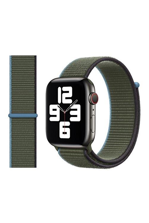 Robotekno Apple Watch 2 3 4 5 6 Se Uyumlu 38 Mm Ve 40 Mm Için Dokuma Kordon Kayış - Zeytin Yeşili 1