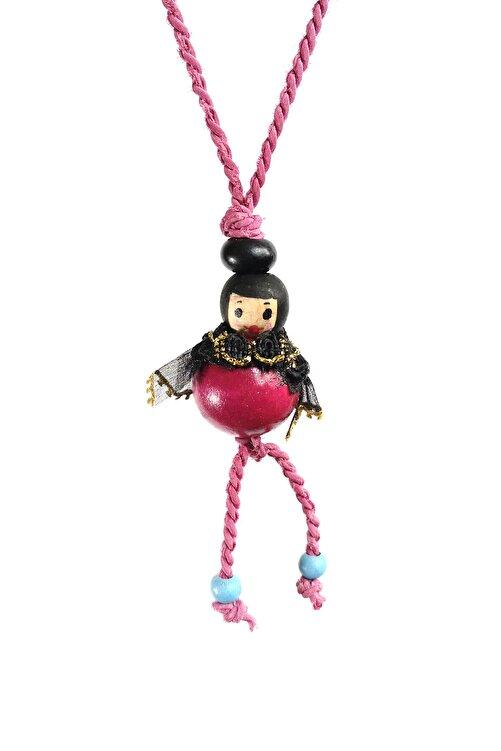 mini Q'S Handmade Pembe Tahta Boyama Arı Maya Kolye 1