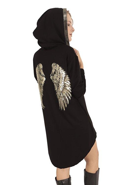 BUKETLİ Kadın Siyah Sırtı Payetli Kapüşonlu Mini Sweat Elbise 1