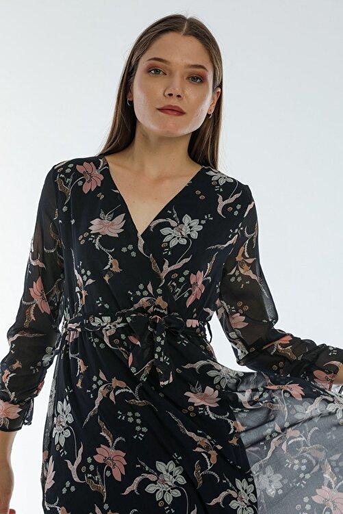 Elbise Delisi Çiçekli Yeni Sezon Kruvaze Yaka Büyük Beden Şifon Elbise 2