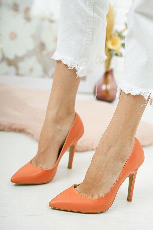 Venüs Tokyo Turuncu Cilt Kadın Topuklu Ayakkabı Stiletto 2