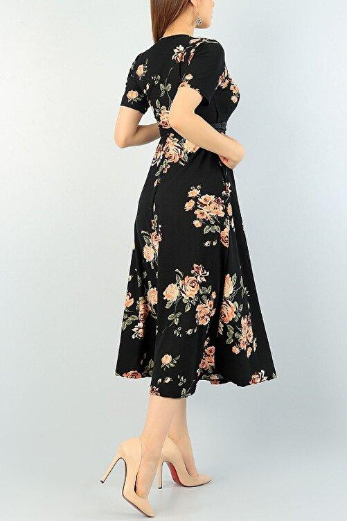 Butik Şımarık Kadın Kruvaze Yaka Krep Kumaş Kısa Kol Gül Baskılı Siyah Elbise 120cm 2