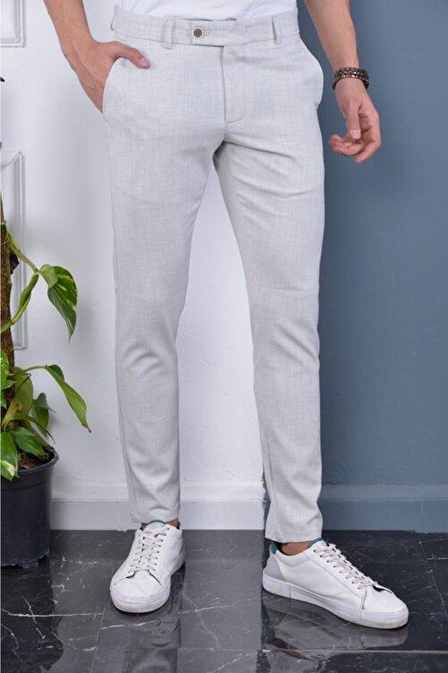 Bürke Erkek Taş Rengi Italyan Kesim Slimfit Kumaş Pantolon 1