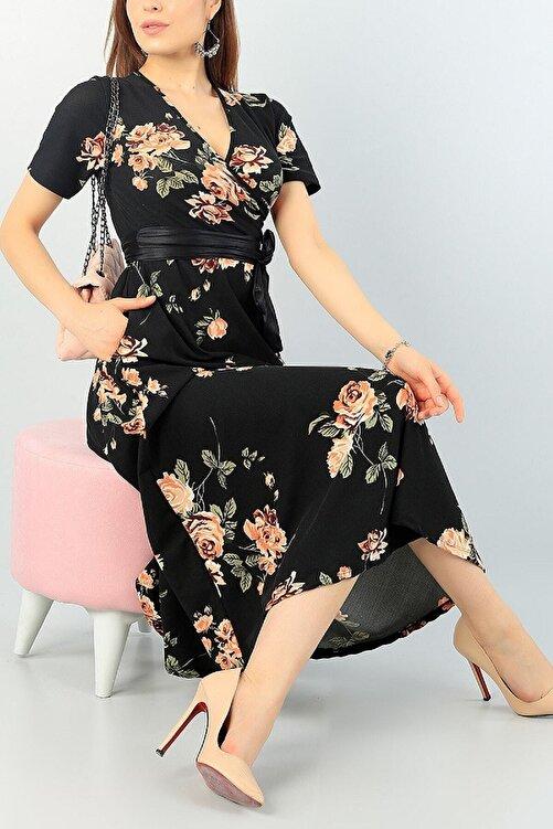 Butik Şımarık Kadın Kruvaze Yaka Krep Kumaş Kısa Kol Gül Baskılı Siyah Elbise 120cm 1