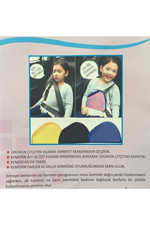 Efe Mask Çocuk Emniyet Kemeri Düzenleyici Ve Tutucu Emniyet Kemer Pedi 2