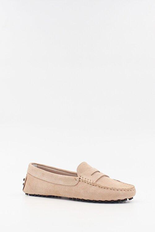 West To West Kadın Bej Deri Süet Loafer Ayakkabı 2