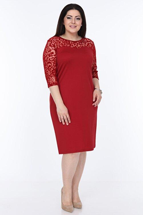 Moday Kadın Bordo Floklu Elbise 26c-1030 2