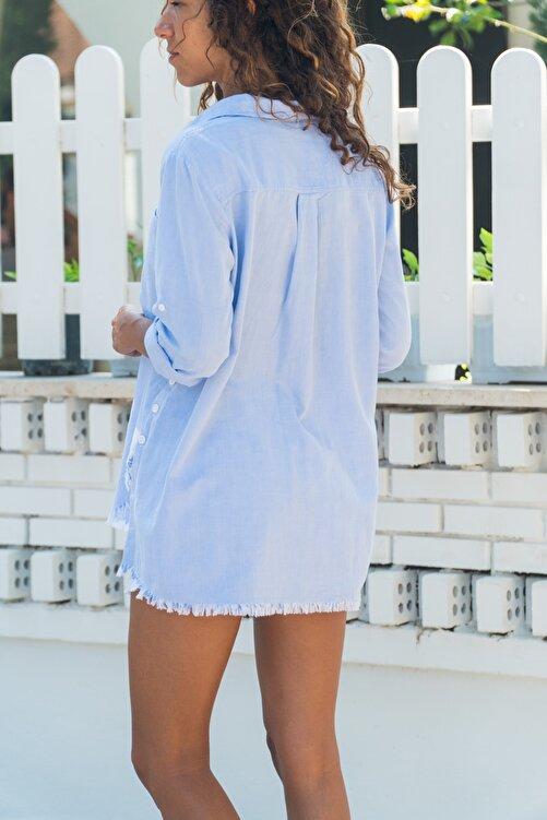Güneşkızı Kadın Mavi Yanı Düğmeli Eteği Püsküllü Gömlek GK-AYN1666 2