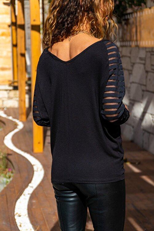 Güneşkızı Kadın Siyah Kolu Tül Detaylı Bluz GK-CCKSAN105 2