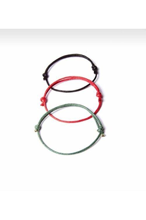 Daphne Store Kalın Ip - Siyah,kırmızı,yeşil 3lü Bileklik 2