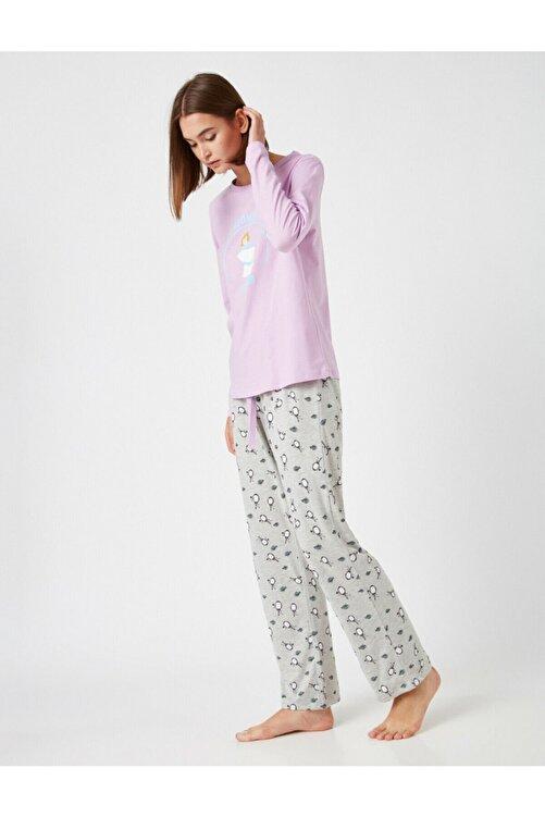 Koton Kadın Mor Pamuklu Disney Lisanslı Baskılı Pijama Takımı 1