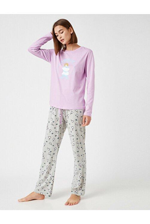 Koton Kadın Mor Pamuklu Disney Lisanslı Baskılı Pijama Takımı 2