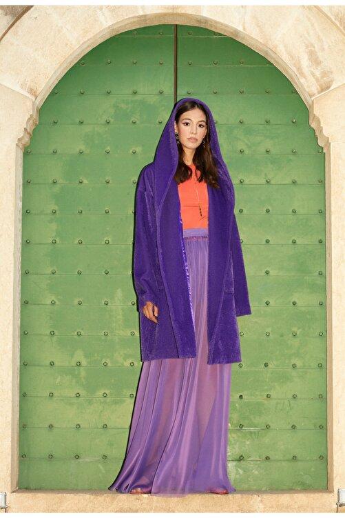 Meltem Özbek Kadın Mor Uzun Kaban 2