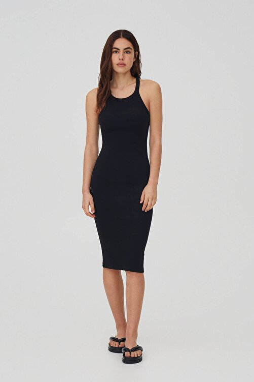 Pull & Bear Fitilli Basic Halter Yaka Elbise 1