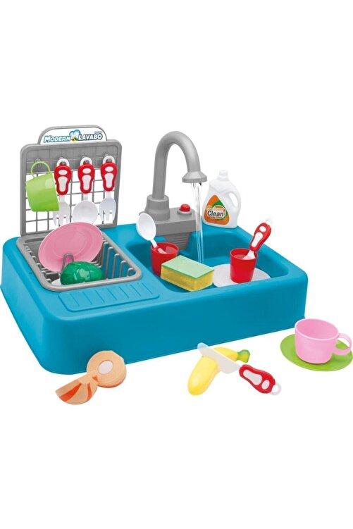 Kayyum Oyuncak Modern Çeşmeli Lavabo Seti Mavi Pilli Mutfak Oyuncak Seti 1