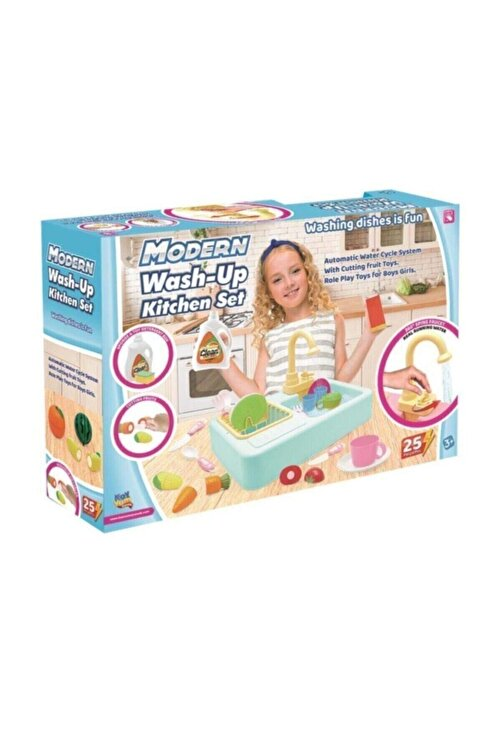 Kayyum Oyuncak Modern Çeşmeli Lavabo Seti Mavi Pilli Mutfak Oyuncak Seti 2