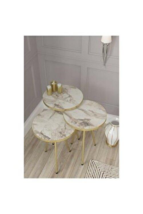 UFKUM Home Zigon Sehpa 3'lü Beyaz Mermer Gold Boru Ayak 2